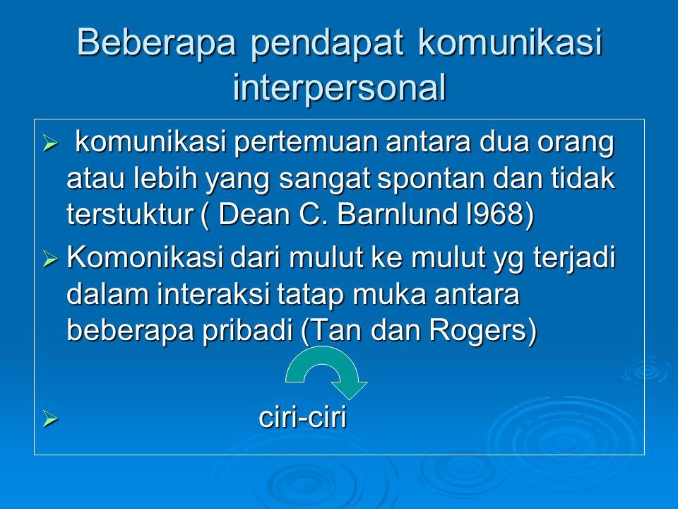 Beberapa pendapat komunikasi interpersonal