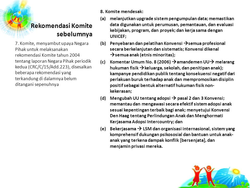 Rekomendasi Komite sebelumnya