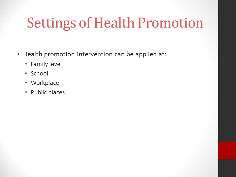 Settings of Health Promotion