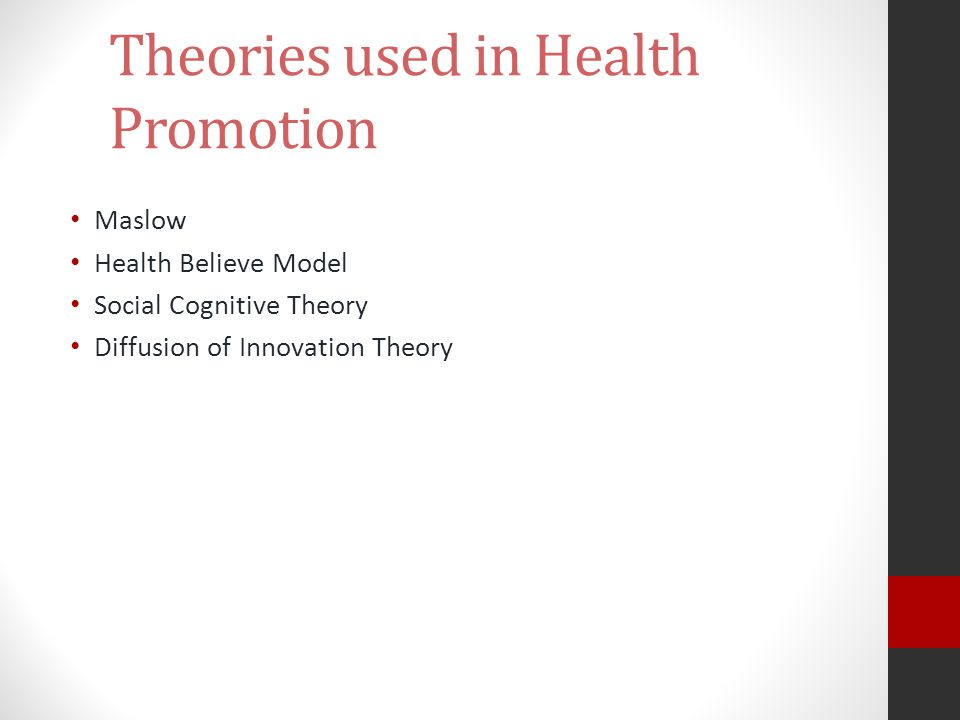 Theories used in Health Promotion