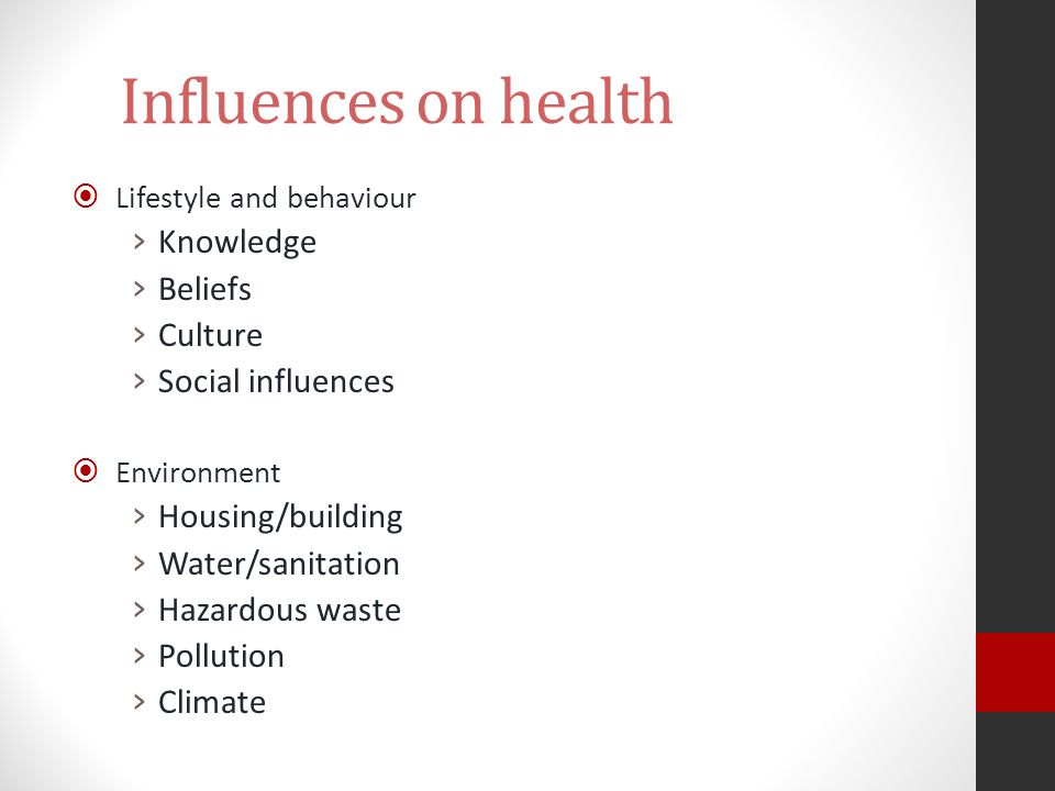 Influences on health Knowledge Beliefs Culture Social influences