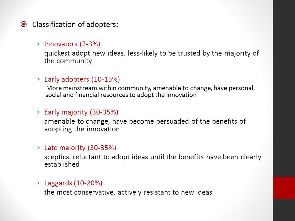Classification of adopters:
