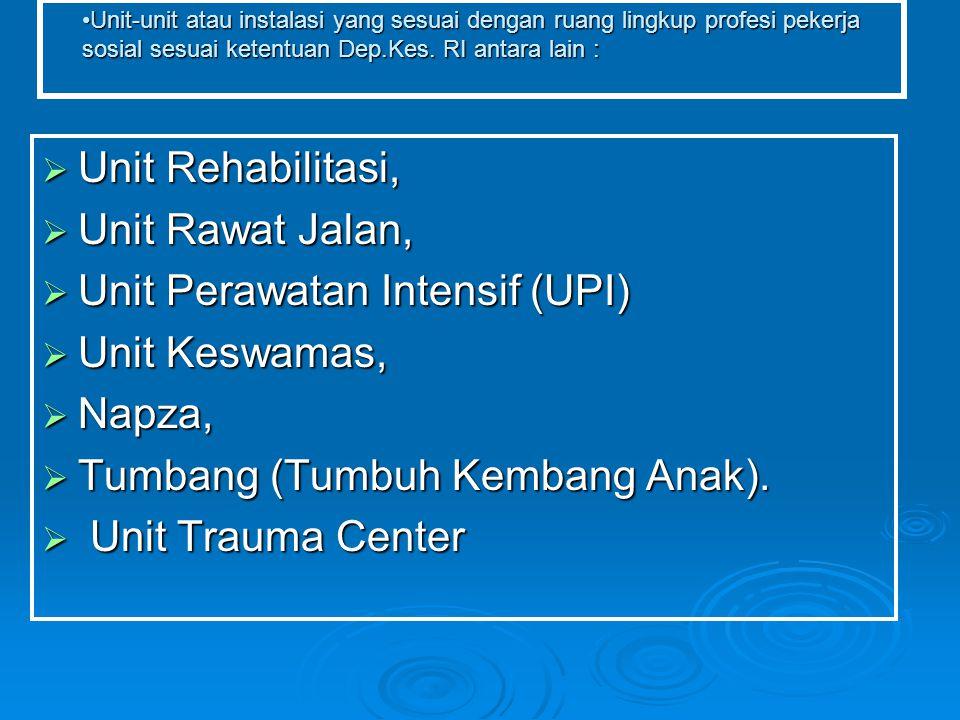 Unit Perawatan Intensif (UPI) Unit Keswamas, Napza,