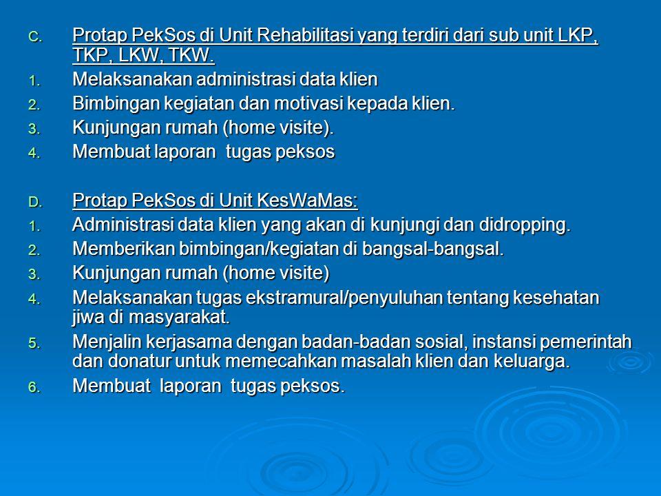 Protap PekSos di Unit Rehabilitasi yang terdiri dari sub unit LKP, TKP, LKW, TKW.
