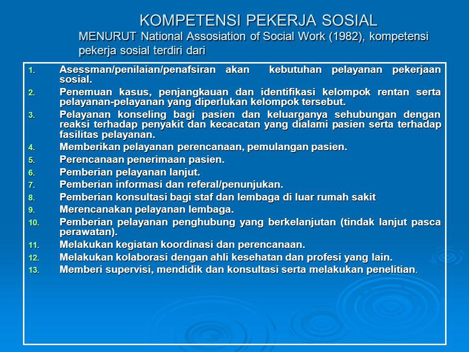 KOMPETENSI PEKERJA SOSIAL MENURUT National Assosiation of Social Work (1982), kompetensi pekerja sosial terdiri dari
