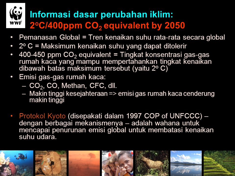 Informasi dasar perubahan iklim: 2oC/400ppm CO2 equivalent by 2050