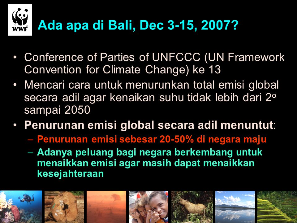 Ada apa di Bali, Dec 3-15, 2007 Conference of Parties of UNFCCC (UN Framework Convention for Climate Change) ke 13.