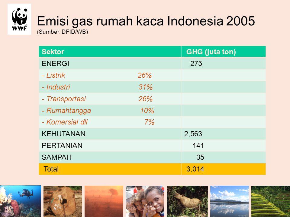 Emisi gas rumah kaca Indonesia 2005 (Sumber: DFID/WB)