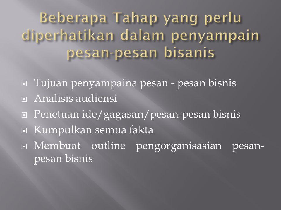 Beberapa Tahap yang perlu diperhatikan dalam penyampain pesan-pesan bisanis