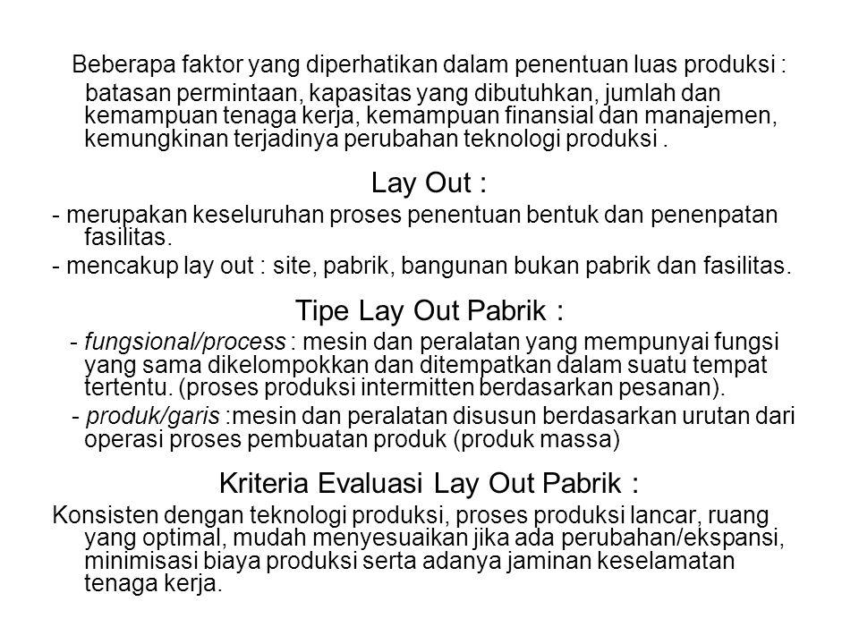 Kriteria Evaluasi Lay Out Pabrik :