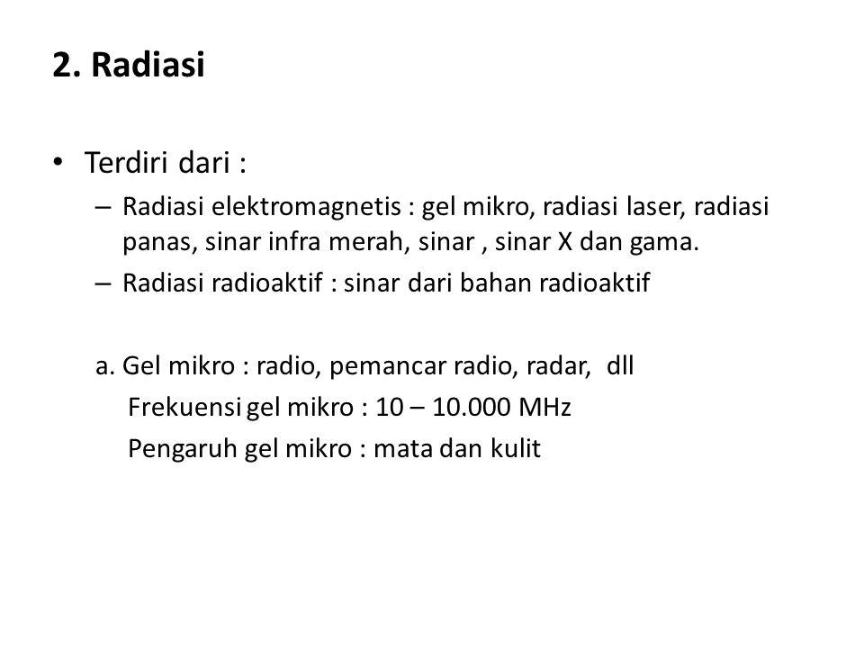 2. Radiasi Terdiri dari : Radiasi elektromagnetis : gel mikro, radiasi laser, radiasi panas, sinar infra merah, sinar , sinar X dan gama.