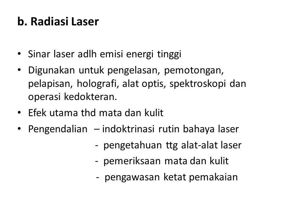 b. Radiasi Laser Sinar laser adlh emisi energi tinggi