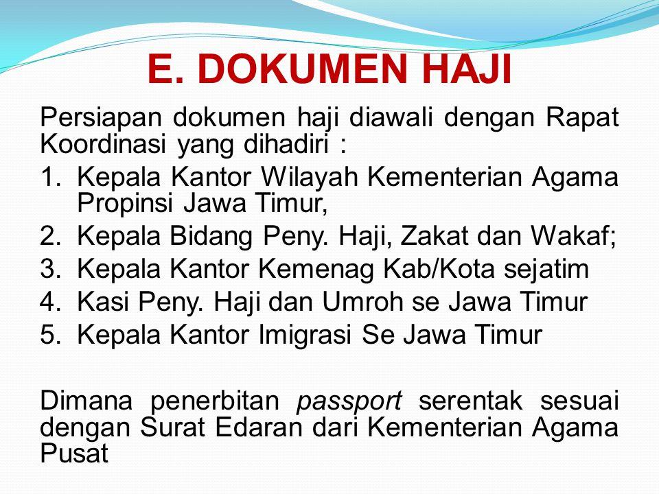 E. DOKUMEN HAJI Persiapan dokumen haji diawali dengan Rapat Koordinasi yang dihadiri : Kepala Kantor Wilayah Kementerian Agama Propinsi Jawa Timur,