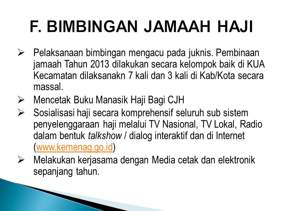 F. BIMBINGAN JAMAAH HAJI