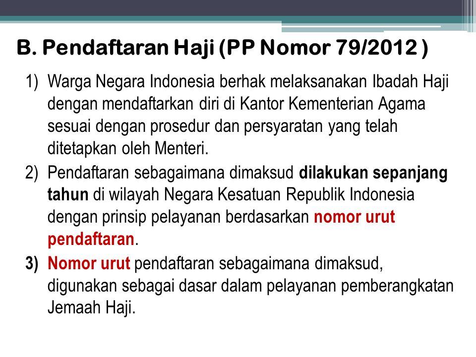 B. Pendaftaran Haji (PP Nomor 79/2012 )