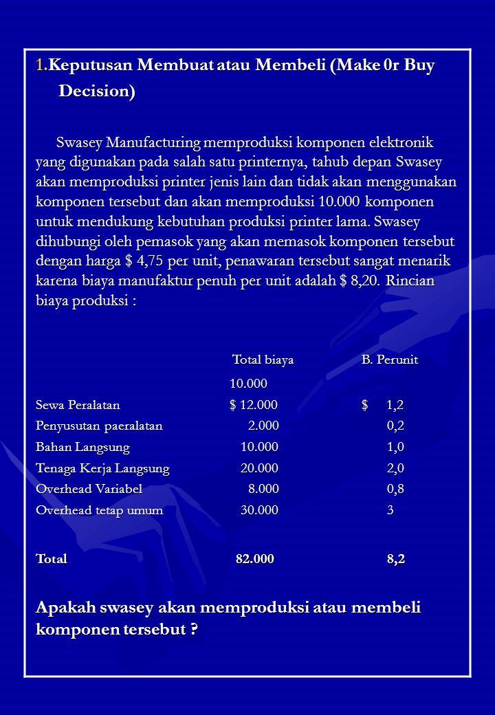 Total biaya B. Perunit Keputusan Membuat atau Membeli (Make 0r Buy