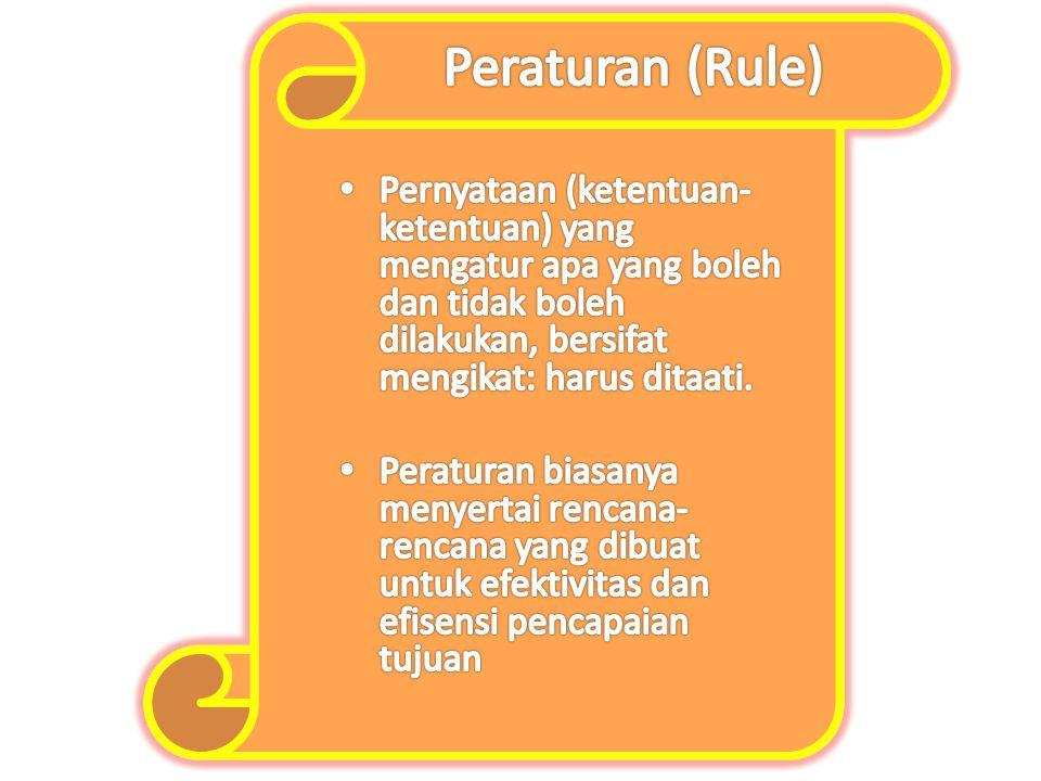 Peraturan (Rule) Pernyataan (ketentuan-ketentuan) yang mengatur apa yang boleh dan tidak boleh dilakukan, bersifat mengikat: harus ditaati.