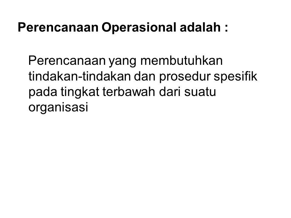 Perencanaan Operasional adalah :