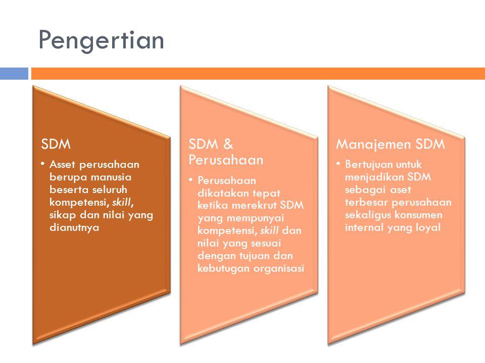 Pengertian SDM. Asset perusahaan berupa manusia beserta seluruh kompetensi, skill, sikap dan nilai yang dianutnya.