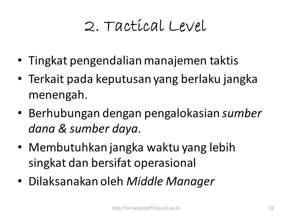 2. Tactical Level Tingkat pengendalian manajemen taktis