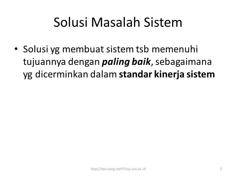 Solusi Masalah Sistem Solusi yg membuat sistem tsb memenuhi tujuannya dengan paling baik, sebagaimana yg dicerminkan dalam standar kinerja sistem.