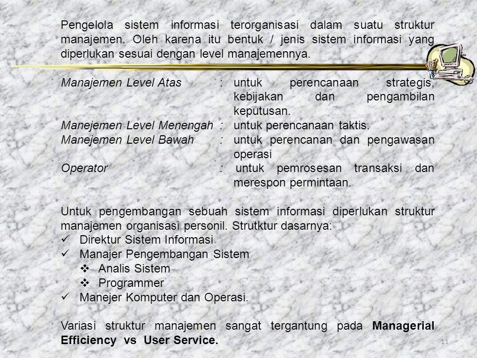 Pengelola sistem informasi terorganisasi dalam suatu struktur manajemen. Oleh karena itu bentuk / jenis sistem informasi yang diperlukan sesuai dengan level manajemennya.
