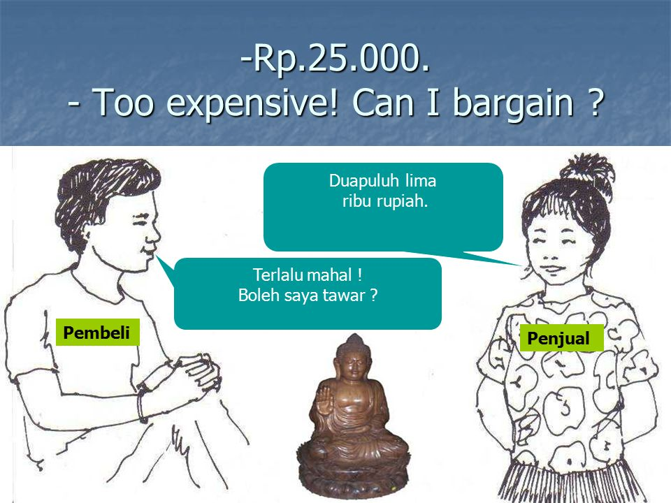 -Rp.25.000. - Too expensive! Can I bargain