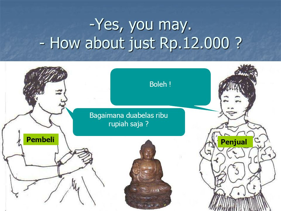 -Yes, you may. - How about just Rp.12.000