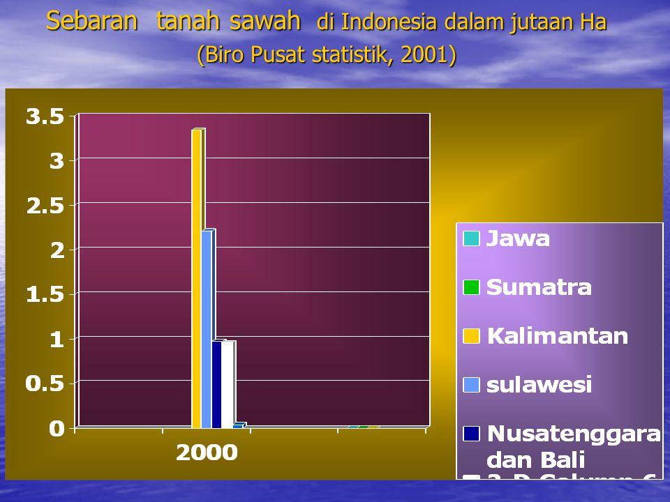 Sebaran tanah sawah di Indonesia dalam jutaan Ha