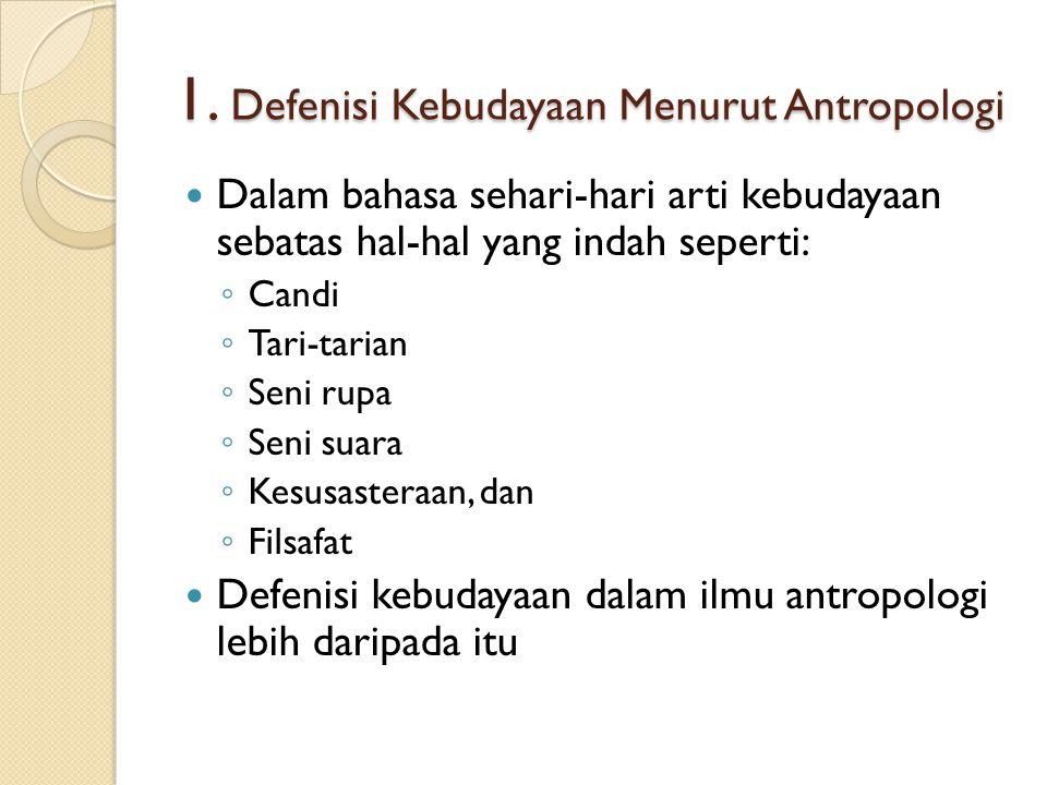 1. Defenisi Kebudayaan Menurut Antropologi