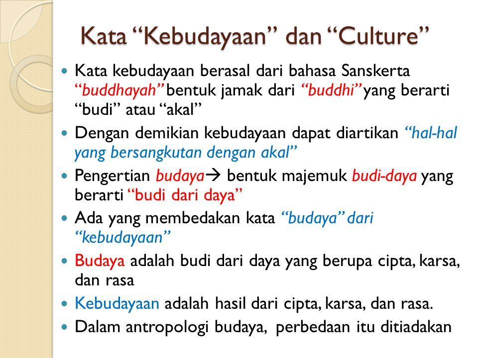 Kata Kebudayaan dan Culture