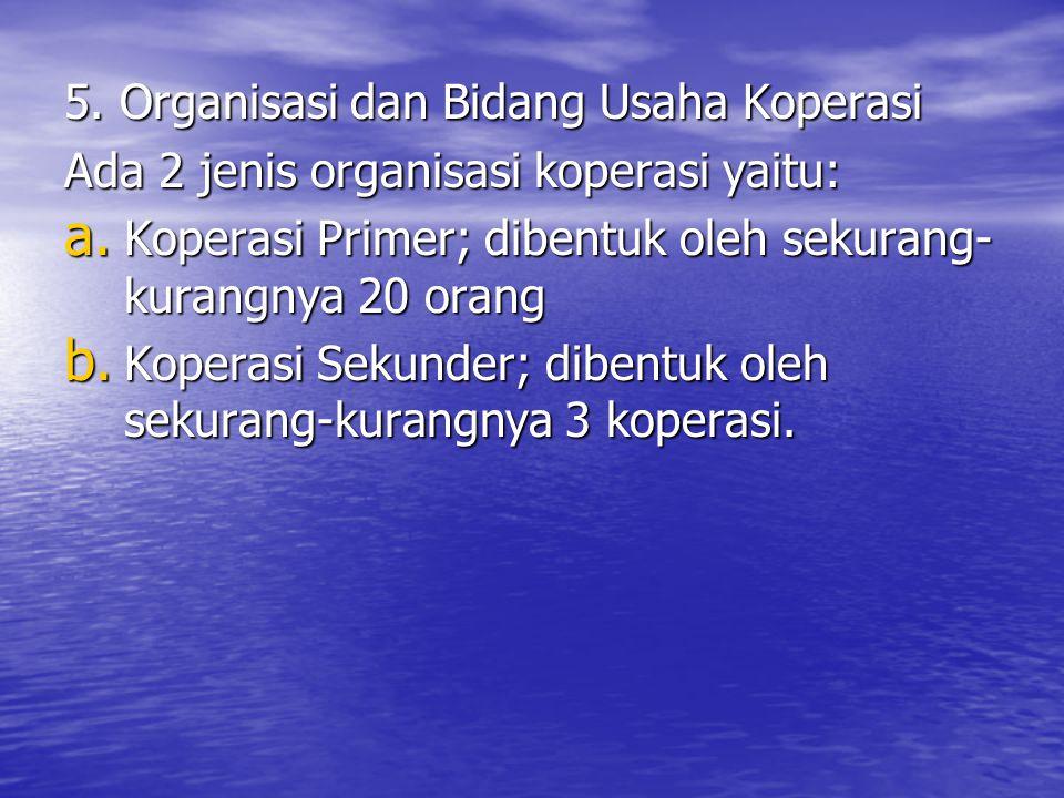 5. Organisasi dan Bidang Usaha Koperasi