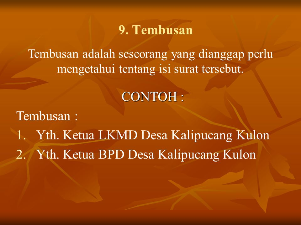 Yth. Ketua LKMD Desa Kalipucang Kulon