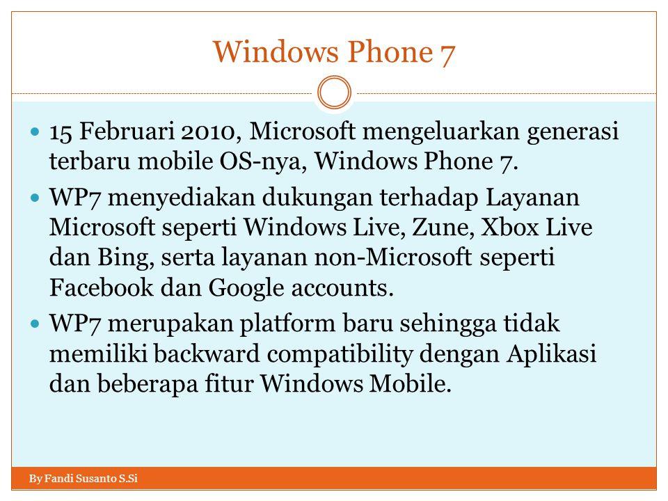 Windows Phone 7 15 Februari 2010, Microsoft mengeluarkan generasi terbaru mobile OS-nya, Windows Phone 7.