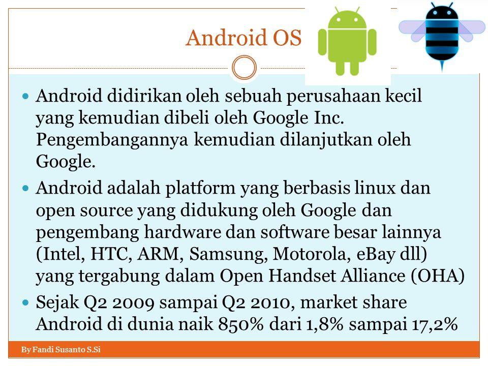Android OS Android didirikan oleh sebuah perusahaan kecil yang kemudian dibeli oleh Google Inc. Pengembangannya kemudian dilanjutkan oleh Google.