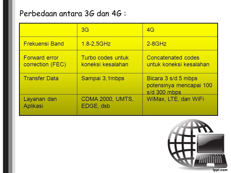Perbedaan antara 3G dan 4G :