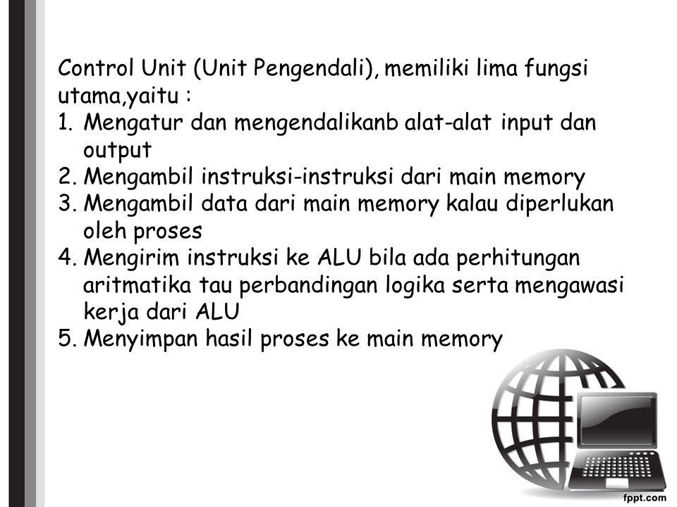 Control Unit (Unit Pengendali), memiliki lima fungsi utama,yaitu :