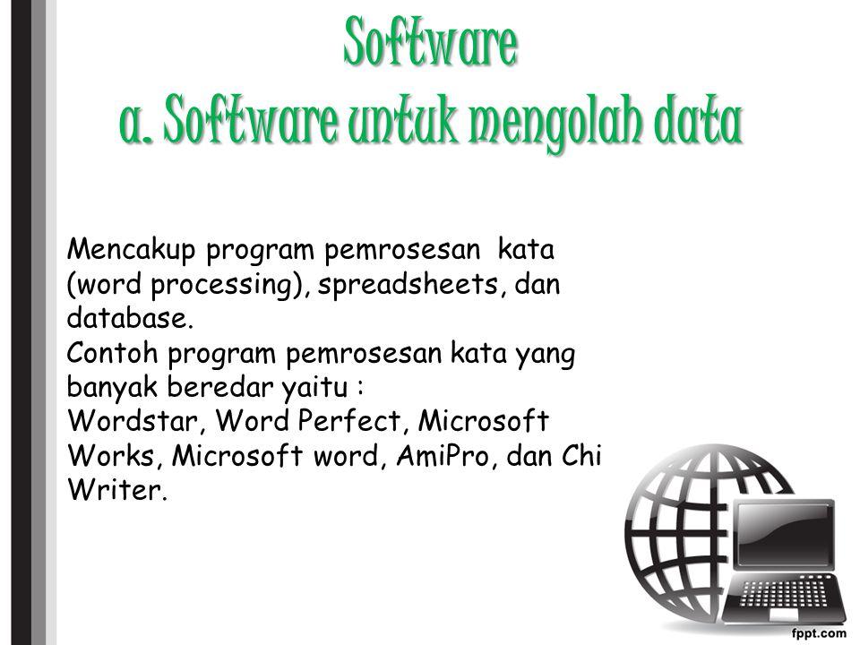 Software a. Software untuk mengolah data