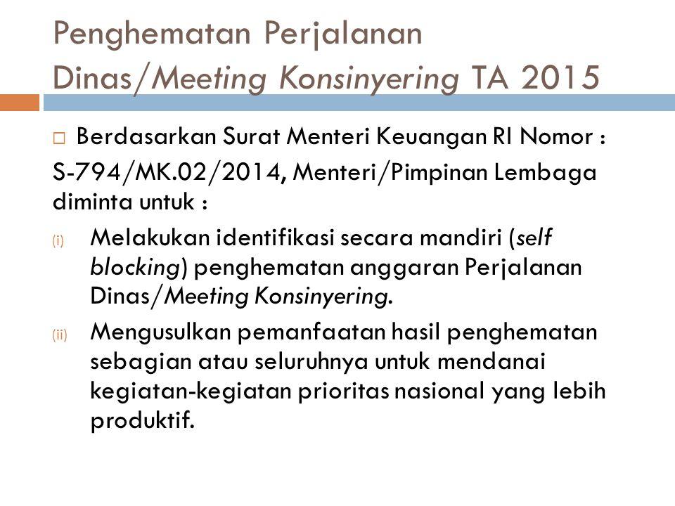 Penghematan Perjalanan Dinas/Meeting Konsinyering TA 2015