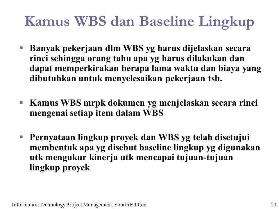 Kamus WBS dan Baseline Lingkup