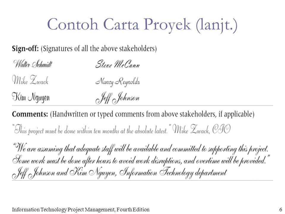 Contoh Carta Proyek (lanjt.)
