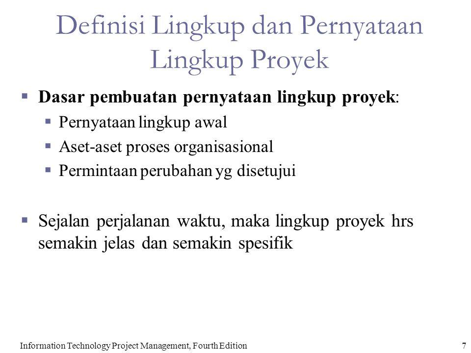Definisi Lingkup dan Pernyataan Lingkup Proyek