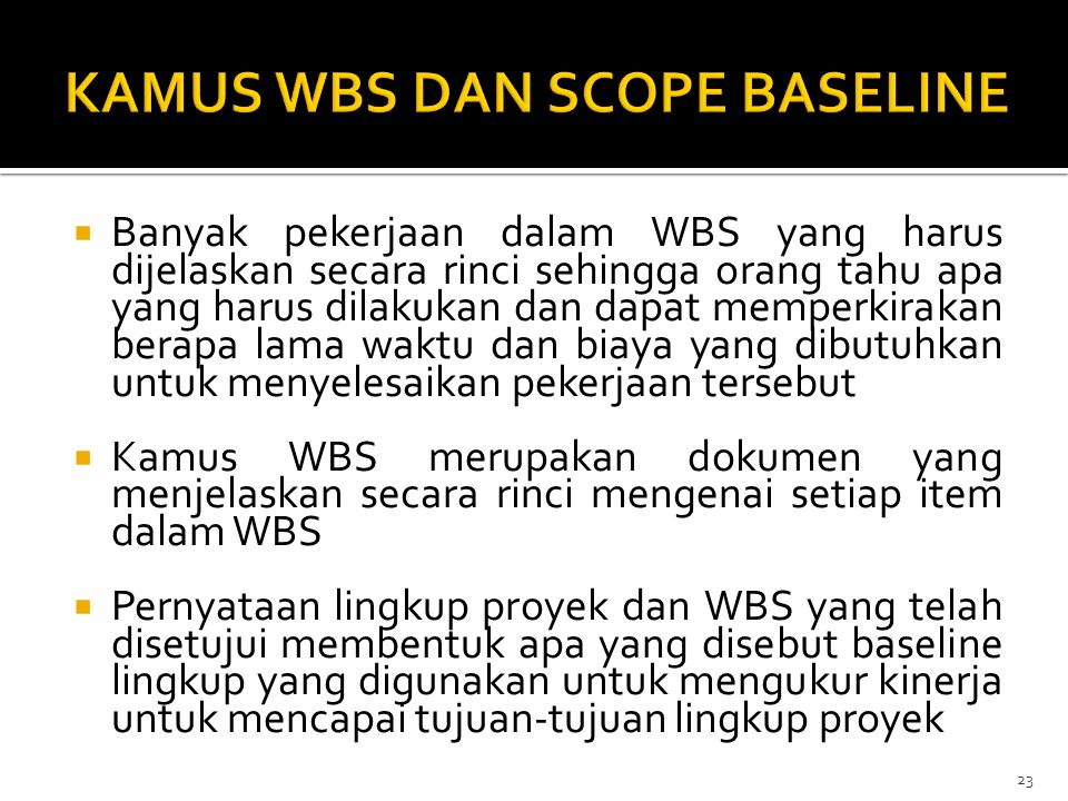 KAMUS WBS DAN SCOPE BASELINE