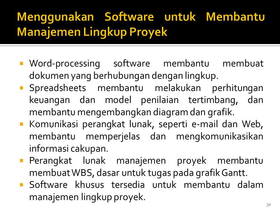 Menggunakan Software untuk Membantu Manajemen Lingkup Proyek