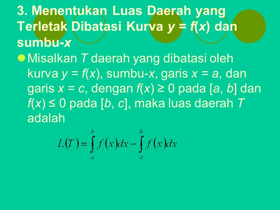 3. Menentukan Luas Daerah yang Terletak Dibatasi Kurva y = f(x) dan sumbu-x