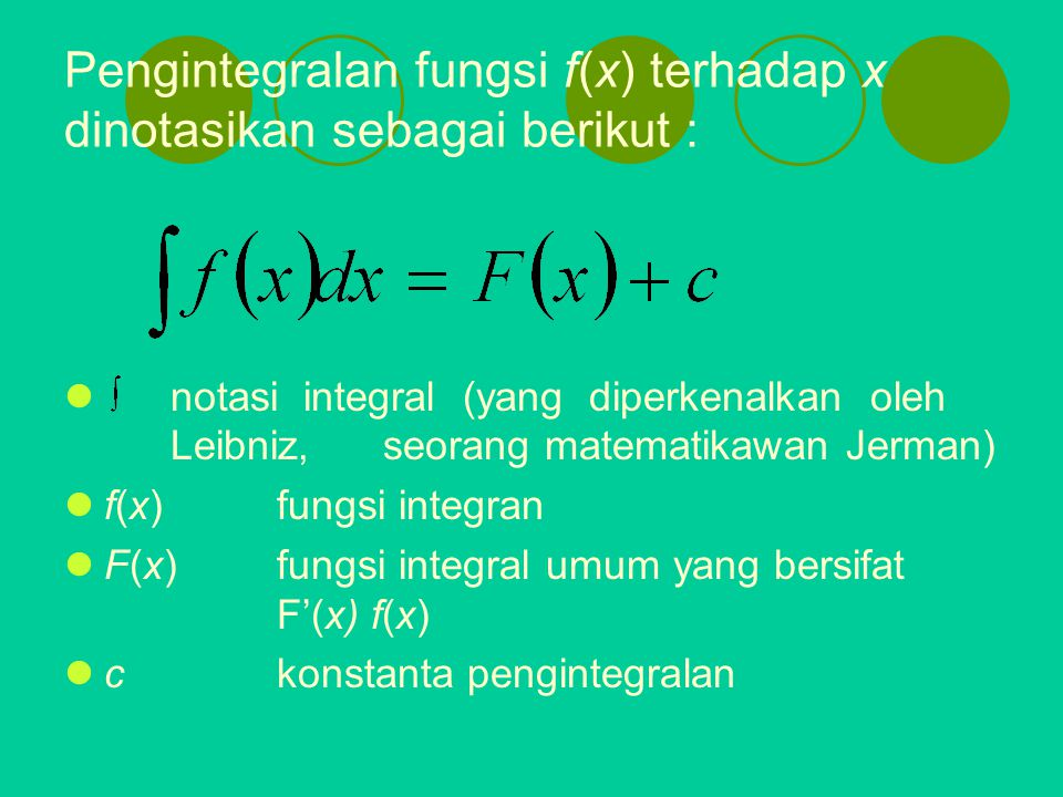 Pengintegralan fungsi f(x) terhadap x dinotasikan sebagai berikut :