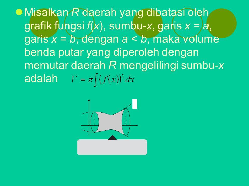 Misalkan R daerah yang dibatasi oleh grafik fungsi f(x), sumbu-x, garis x = a, garis x = b, dengan a < b, maka volume benda putar yang diperoleh dengan memutar daerah R mengelilingi sumbu-x adalah