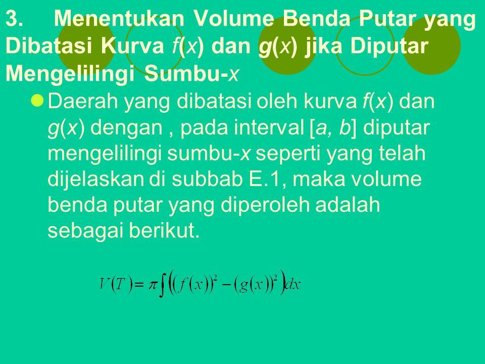 3. Menentukan Volume Benda Putar yang Dibatasi Kurva f(x) dan g(x) jika Diputar Mengelilingi Sumbu-x