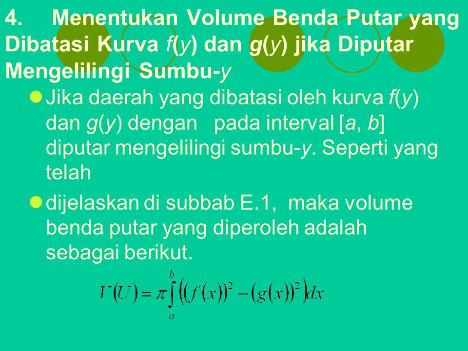 4. Menentukan Volume Benda Putar yang Dibatasi Kurva f(y) dan g(y) jika Diputar Mengelilingi Sumbu-y