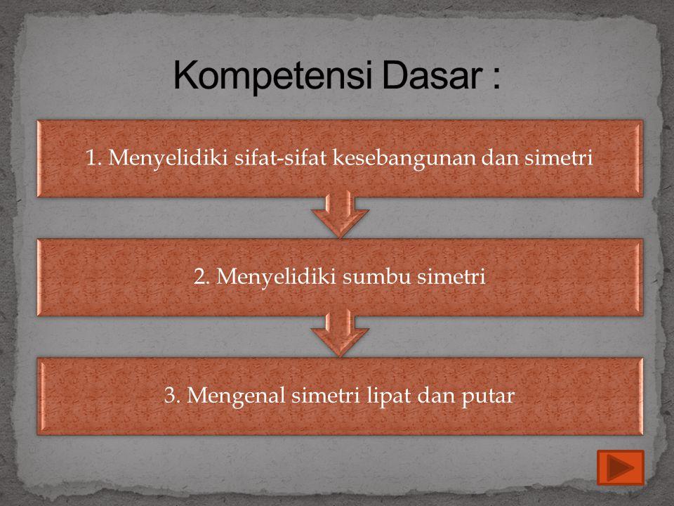 Kompetensi Dasar : 1. Menyelidiki sifat-sifat kesebangunan dan simetri